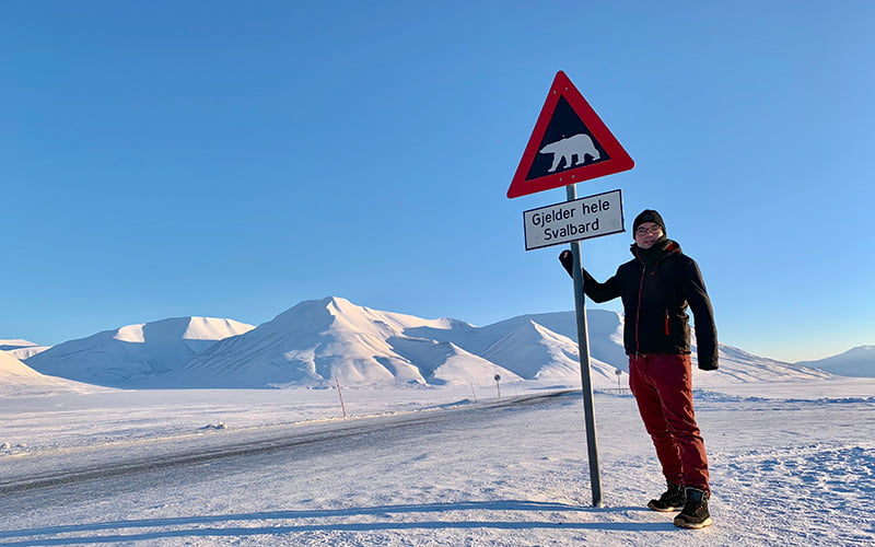 Svalbard polar bear warning sign