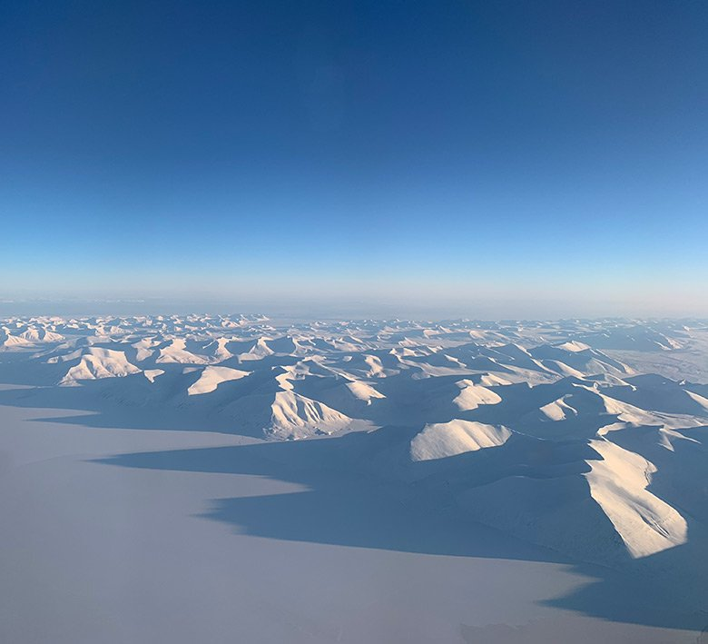 An aerial shot on Svalbard during the late winter