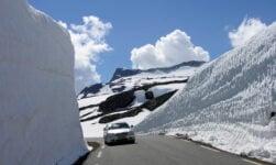The Aurlandsfjellet snow road in Norway