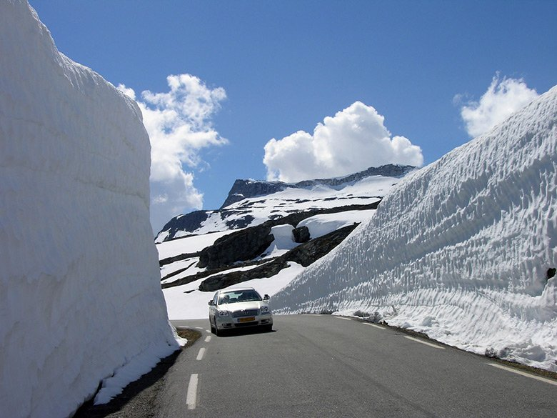 The Aurlandsfjellet snow road in Norway