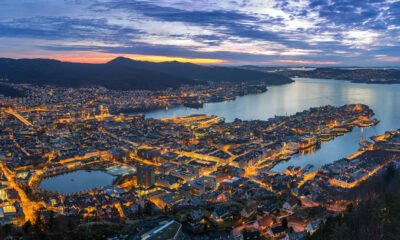 Evening panorama of Bergen, Norway