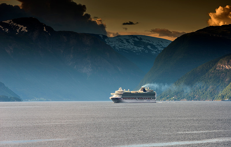 A cruise ship on the Sognefjord