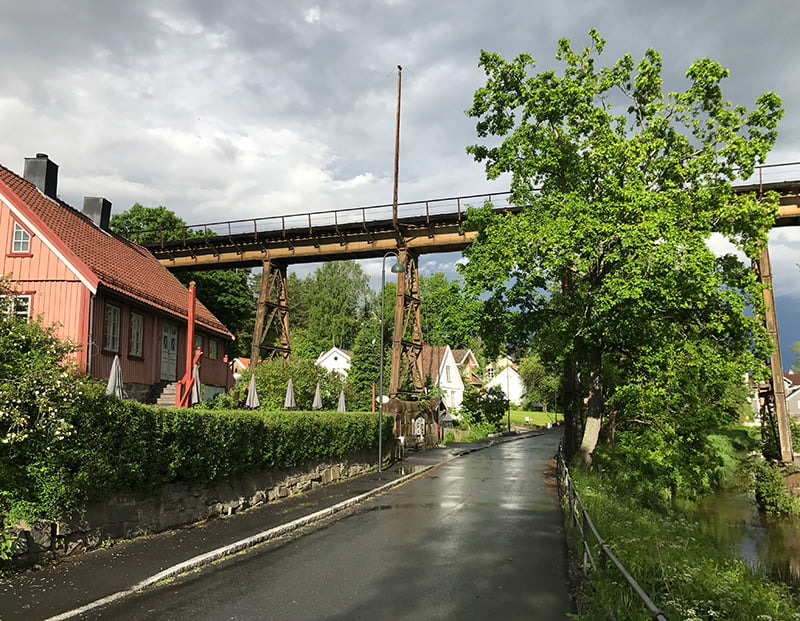 Former railway bridge and cafe in Hølen, Norway