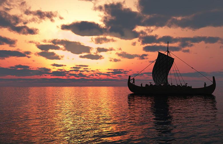 Lone Viking longship
