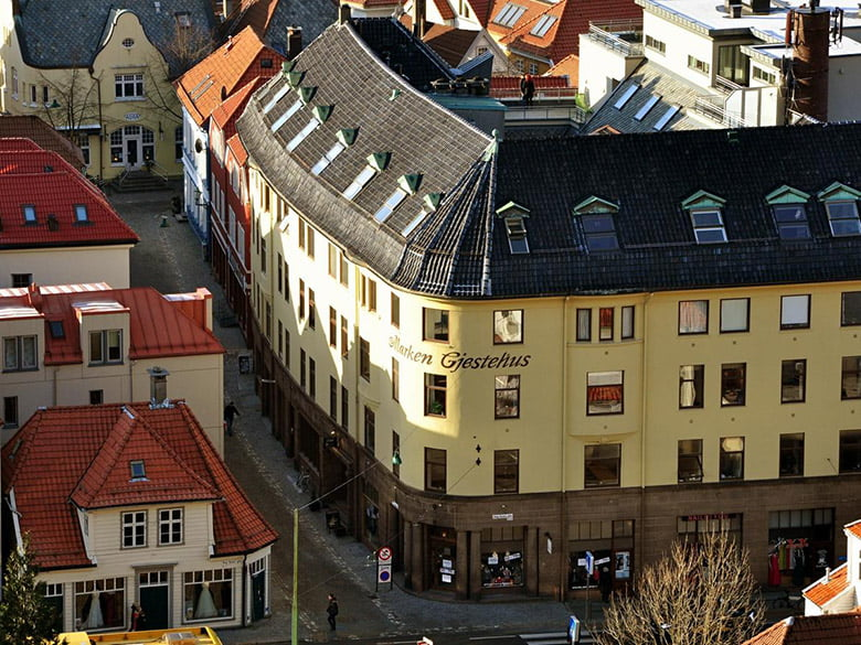Aerial photo of the Marken Guesthouse in Bergen