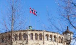 Norwegian flag on Stortinget in Oslo