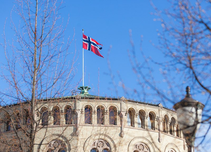 Norwegian flag on Stortinget in Oslo