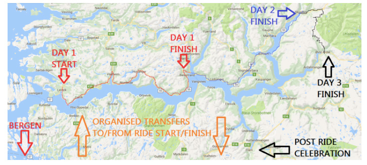 Sognefjord cycle race map