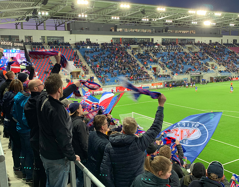 Vålerenga fans at the Intility Arena in Oslo