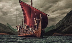 Viking ship sailing