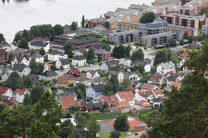 Aerial view of Drammen, Norway