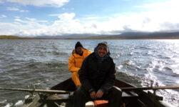 Fishing on a lake in Jotunheimen, Norway