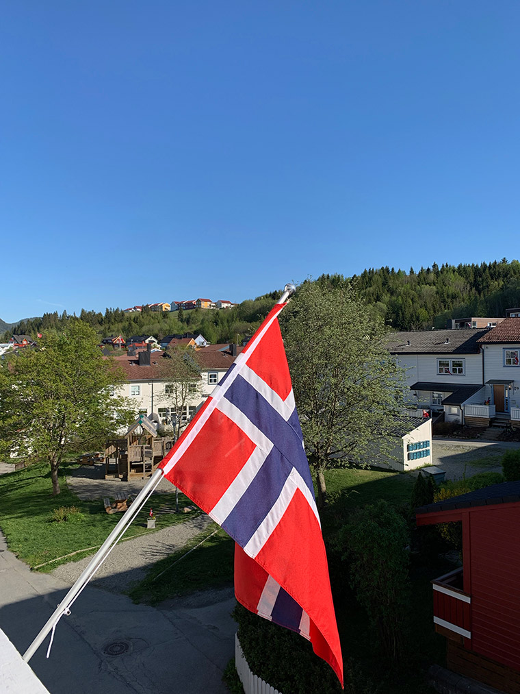 Norwegian flag on balcony