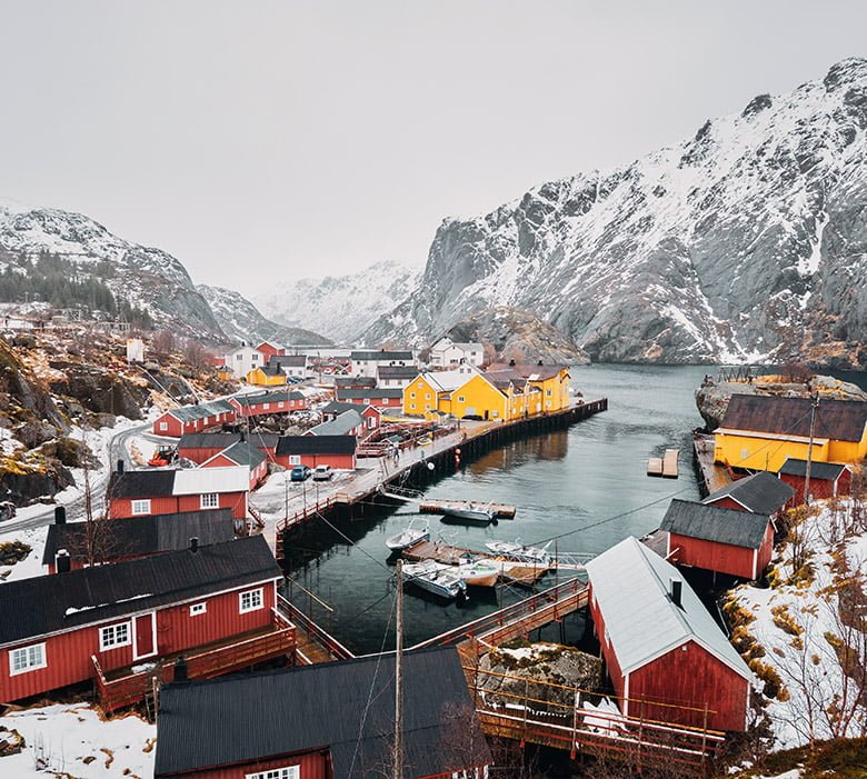 A winter scene from Nusfjord village