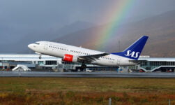 SAS airplane with rainbow