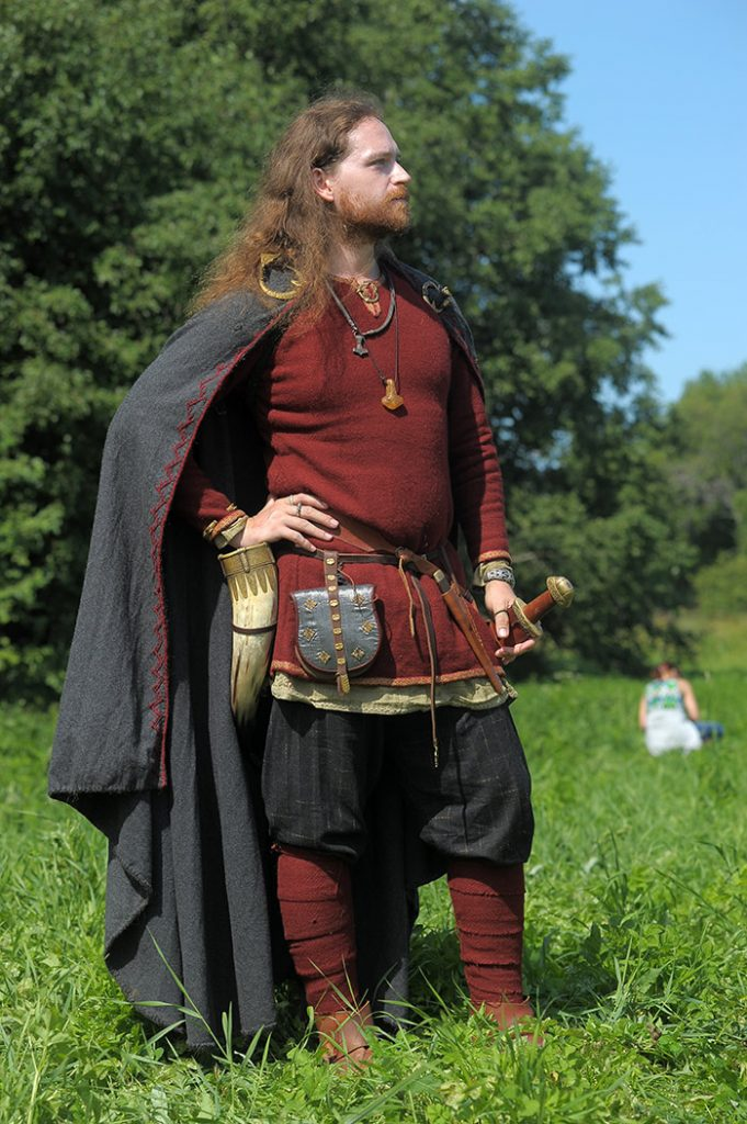 A man wearing a costume at a viking reenactment