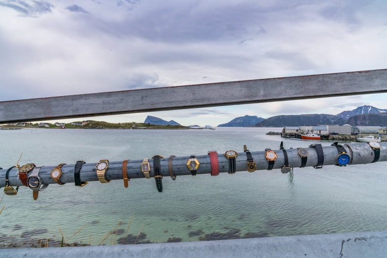 The bridge to Sommarøy covered in watches