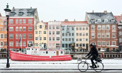 Copenhagen cyclist in the snow in Denmark