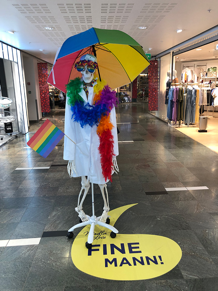 Pride display at a shopping centre in Norway