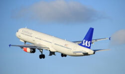 SAS aircraft taking off from Amsterdam