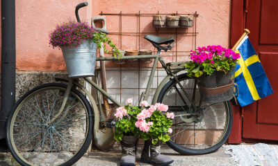Swedish bicycle decorated with flags and flowers