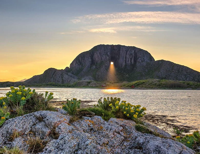 Torghatten mountain in Norway
