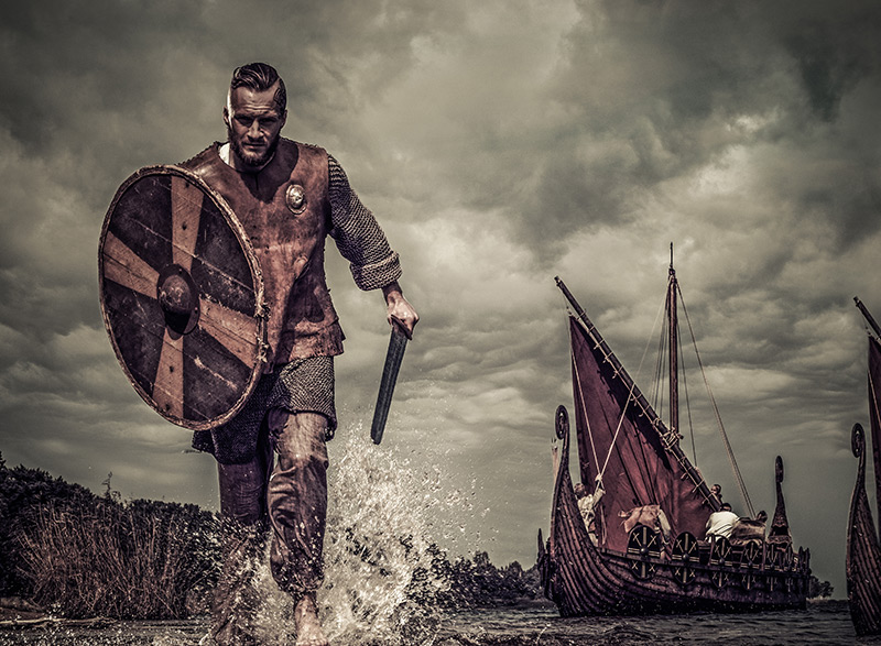 Viking warriors in the water