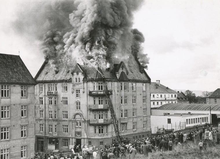 Building on fire in Trondheim, 1953