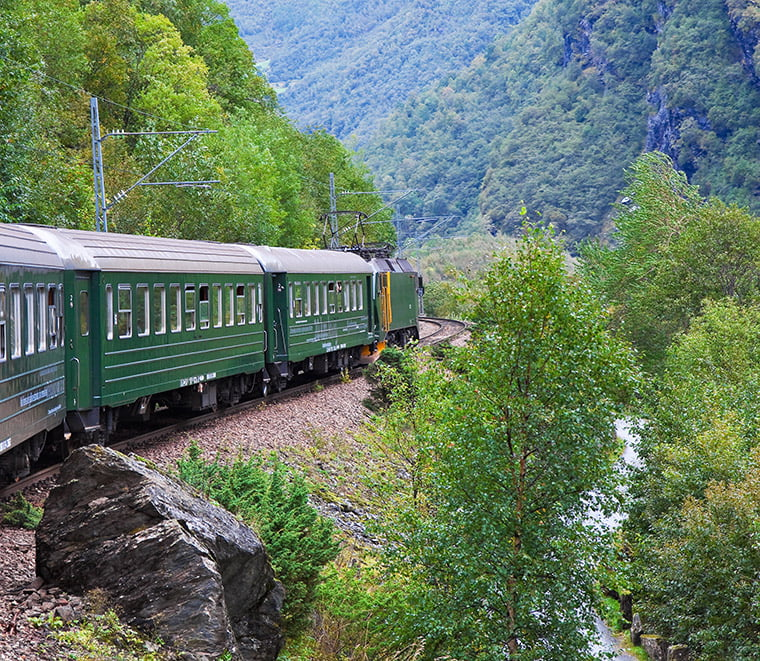 The railway through the Flåm valley
