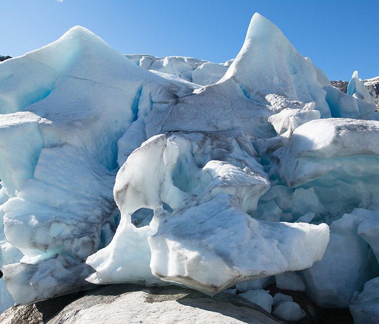 Ice blocks at Nigardsbreen in Norway
