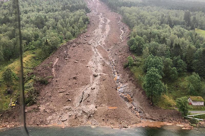 Landslide in Jølster, Norway