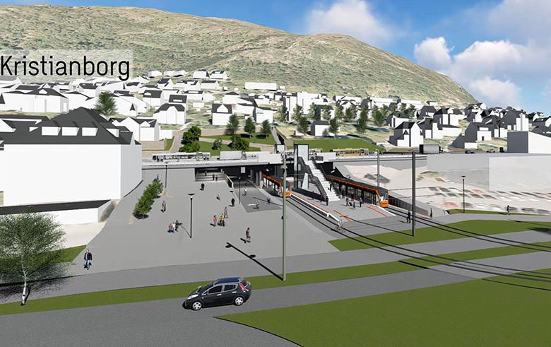 Kristianborg entrance to the Bybanen tunnel in Bergen