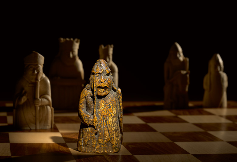 The Lewis chessmen on chess board