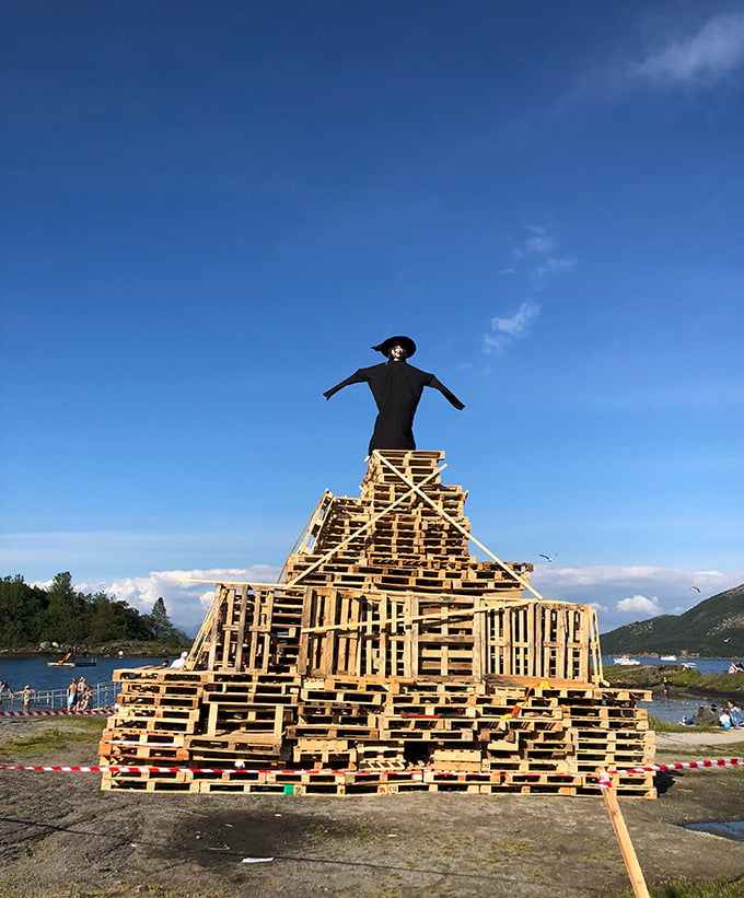 Midsummer bonfire in Norway