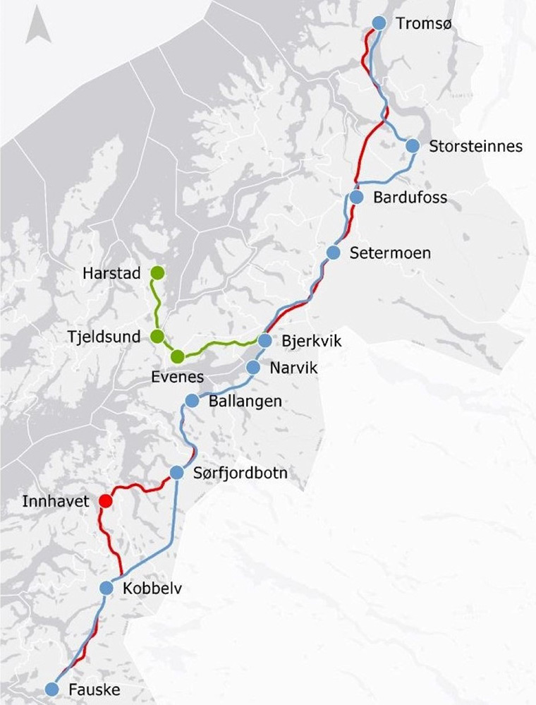 Route map for northern Norway railway