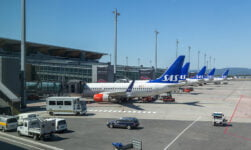 SAS planes at Oslo Airport Gardermoen in Norway