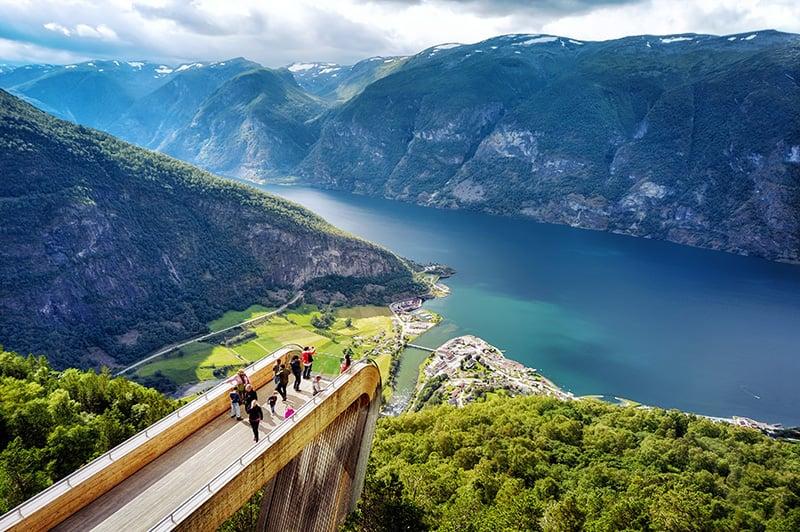 Norway's Aurlandsfjord viewed from Stegastein.