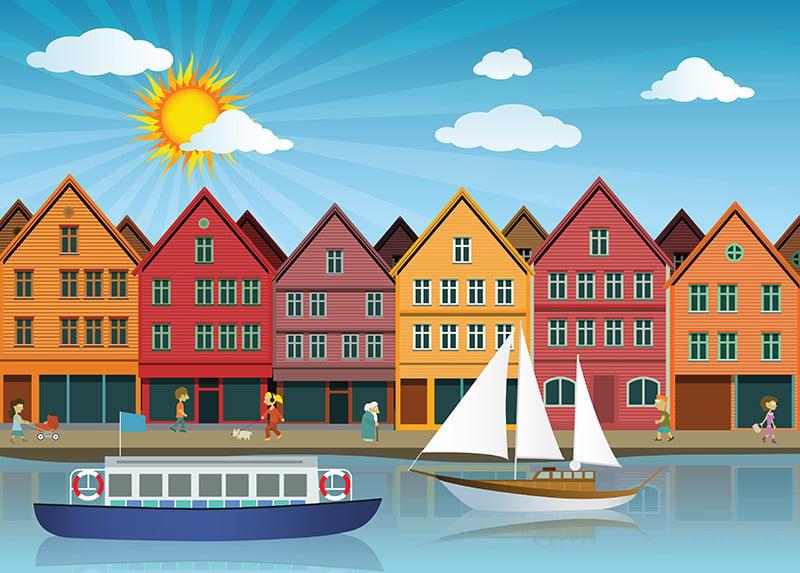 Sunshine in Bergen, Norway