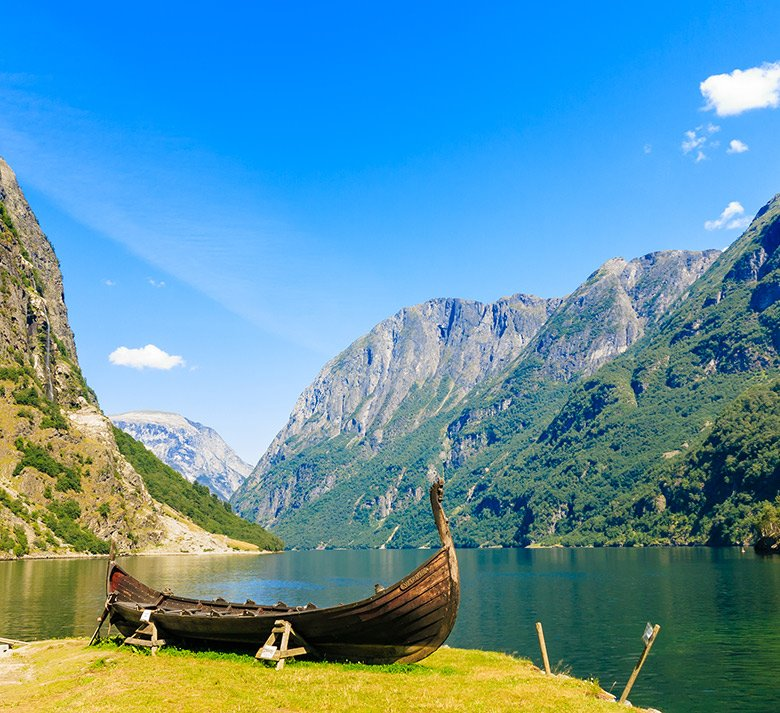 Viking boat on the Aurlandsfjord and Nærøyfjord