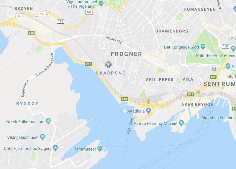 Frogner Strada map