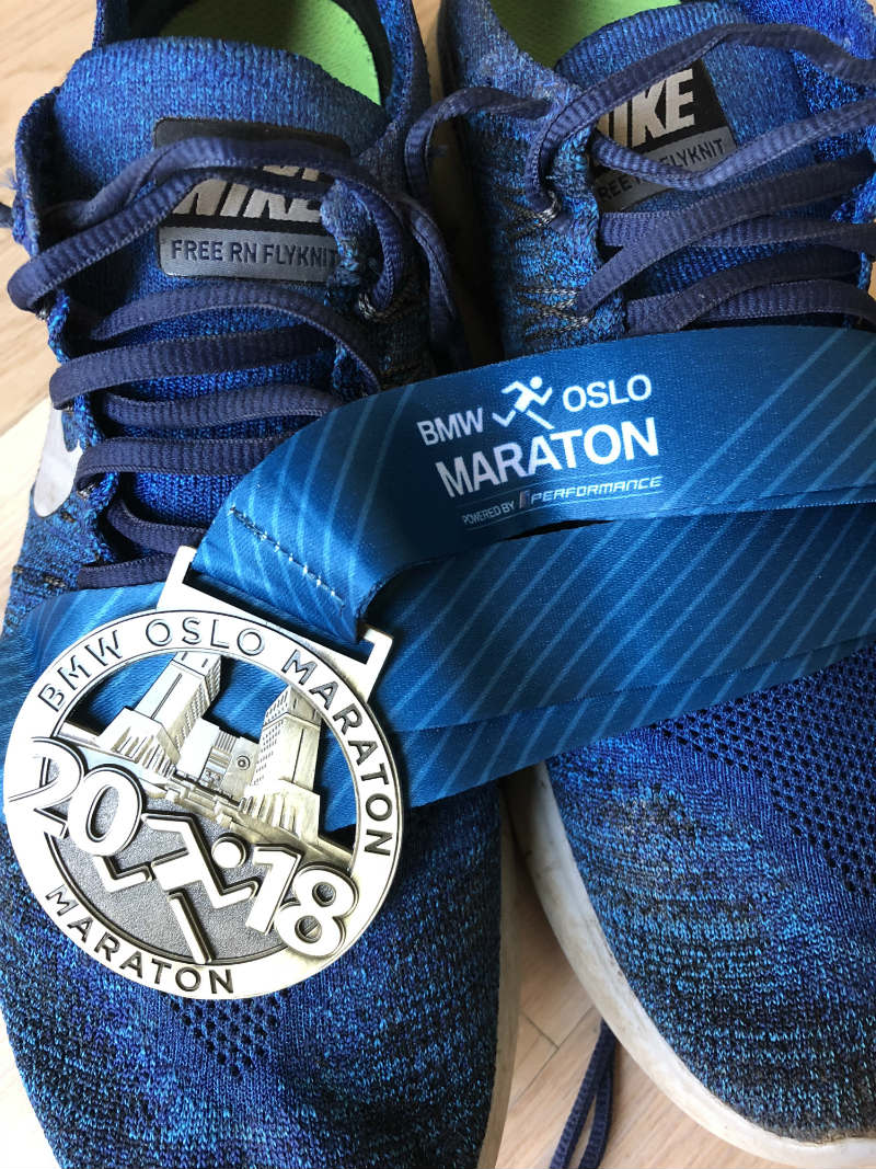 Marathon trainers and medal
