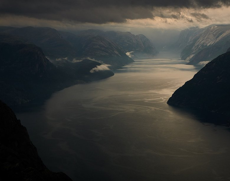 Bad weather in a Norwegian fjord