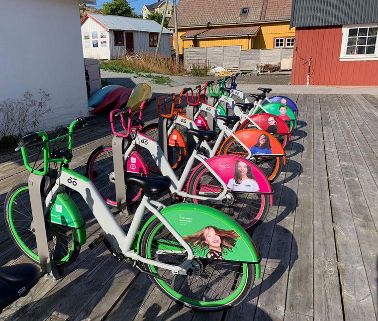 Bike sharing on Skrova, Norway