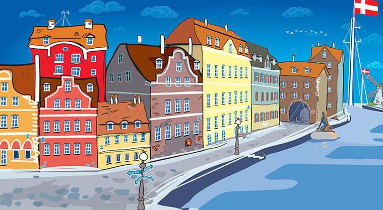 Copenhagen canal in Denmark