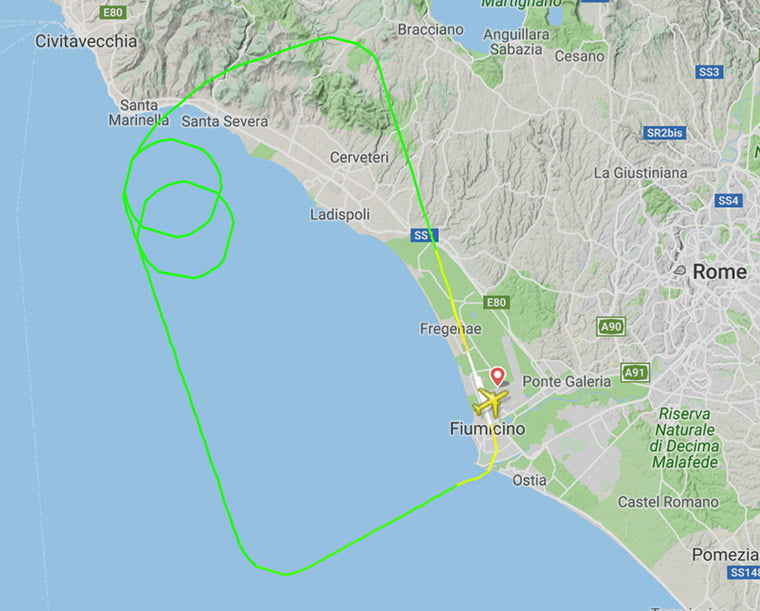 Flight path of the Norwegian aircraft in Rome