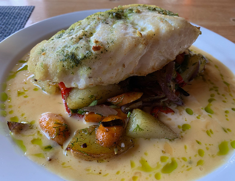 Halibut served at Whalers' pub on Skrova in Norway