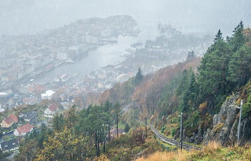 Heavy rainfall in Norway