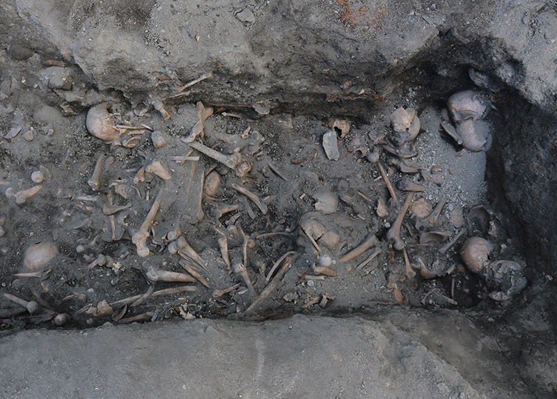 Medieval skeletons grave in Trondheim, Norway
