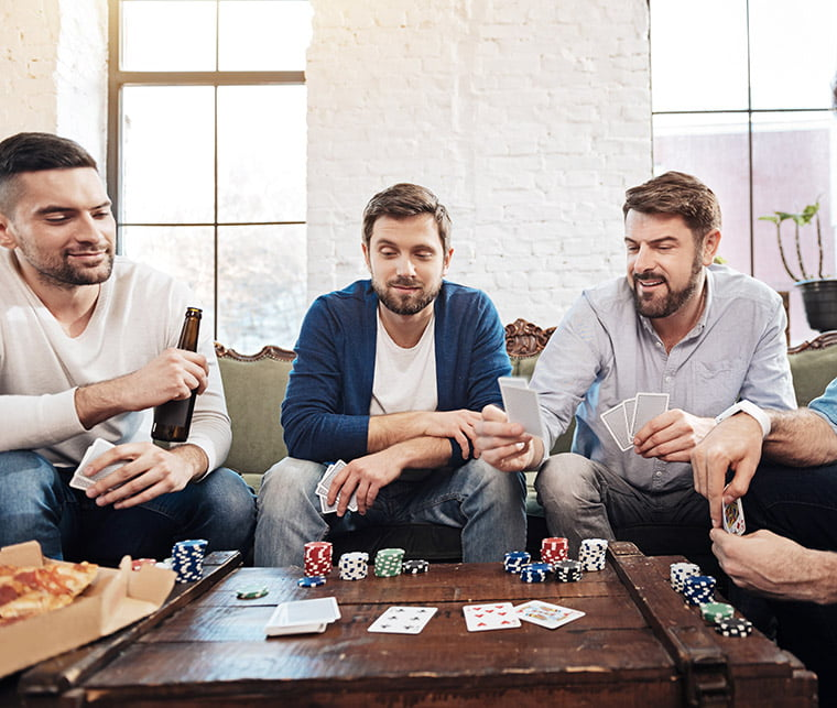 Norwegians playing a home poker game