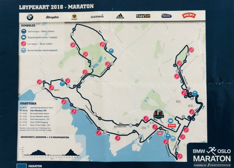oslo marathon map 2018
